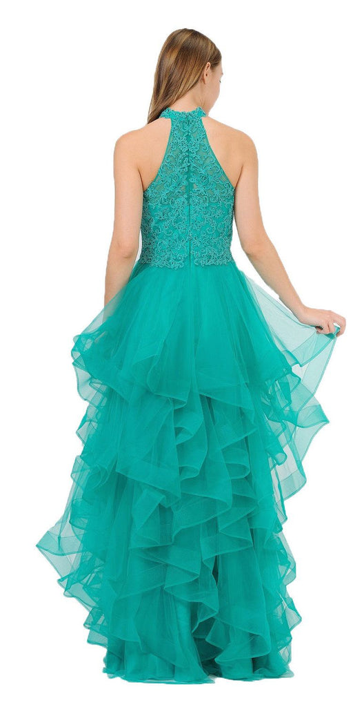 Halter Tiered Long Prom Dress Green
