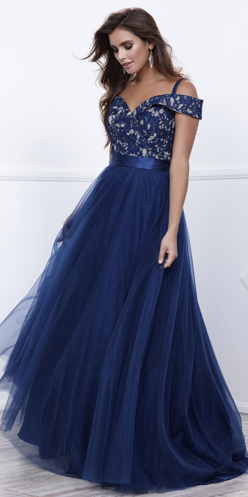 ca54009bbe47 ... Navy Off-Shoulder Lace Bodice A-line Tulle Overlay Ball Gown ...