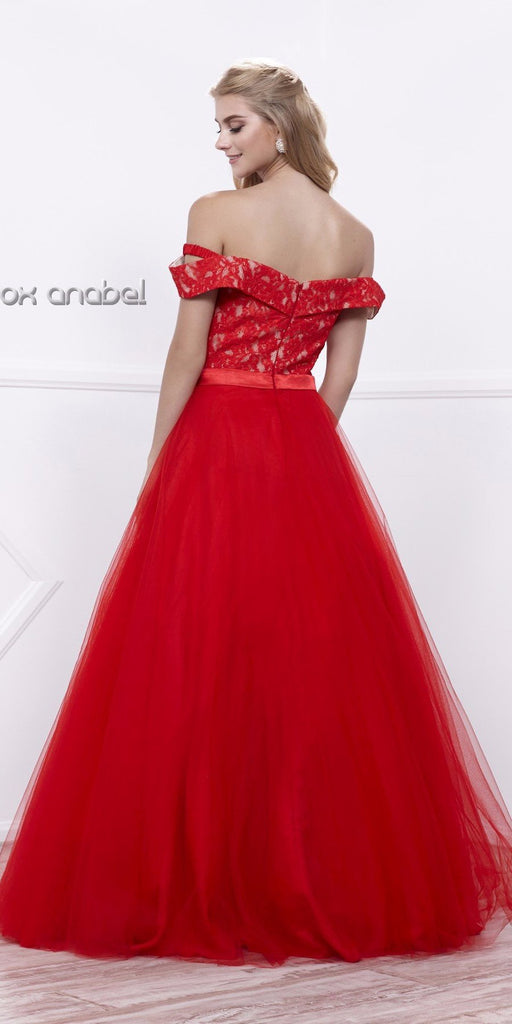 Red Off-Shoulder Lace Bodice A-line Tulle Overlay Ball Gown