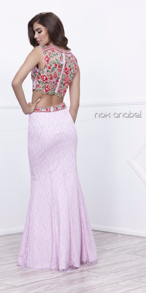 Sleeveless Embroidered Crop Top Lace Mermaid Skirt Prom Gown Lilac