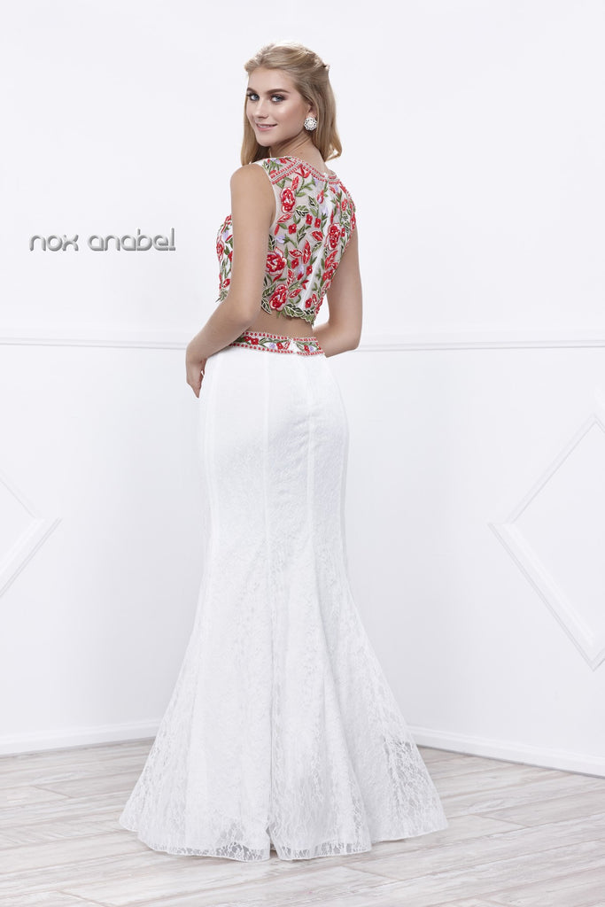 Sleeveless Embroidered Crop Top Lace Mermaid Skirt Prom Gown White