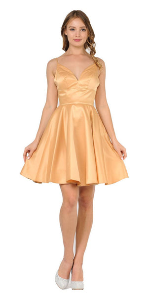 Short A-Line Dress with Spaghetti Straps and Pockets Gold