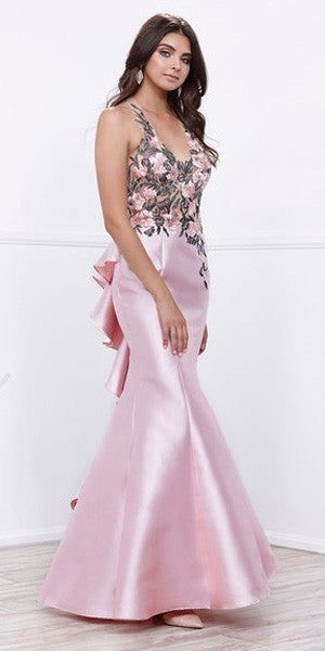 Rose V-Neck Long Mermaid Prom Dress with Appliqued Bodice