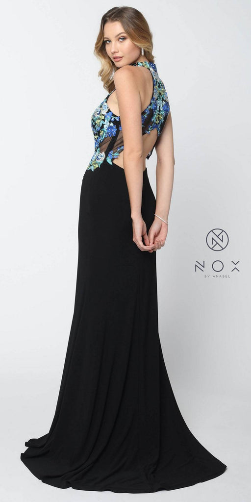 Nox Anabel 8375 Long Black Halter Dress Appliqued Bodice and Train