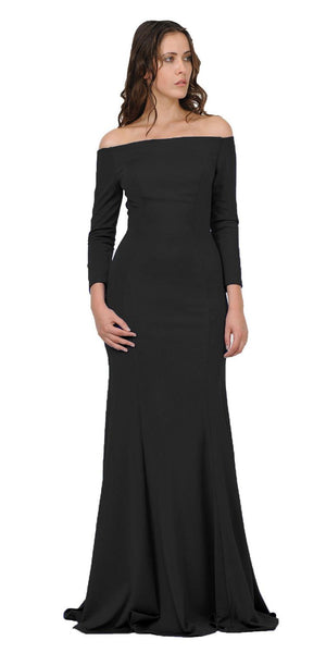 Black Off-Shoulder Long Formal Dress with Long Sleeves
