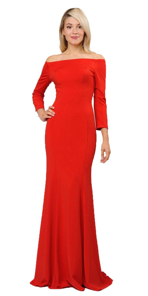 Red Off-Shoulder Long Formal Dress with Long Sleeves