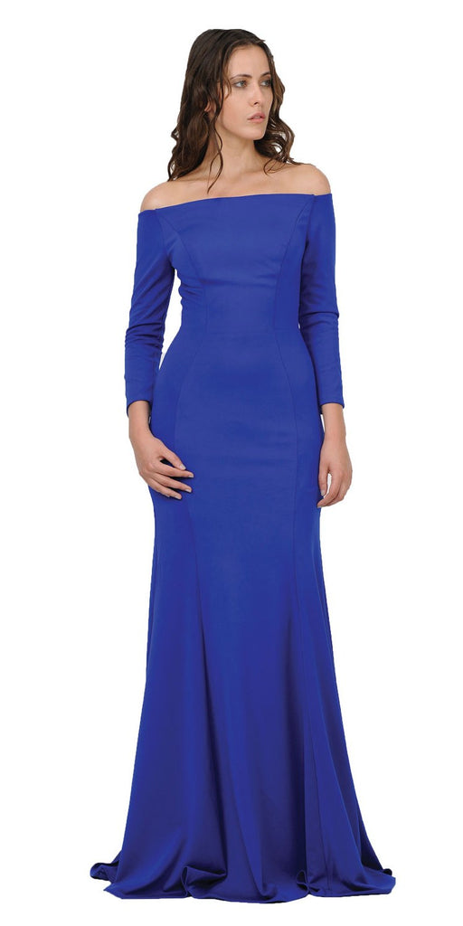 Royal Blue Off-Shoulder Long Formal Dress with Long Sleeves