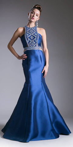 Cinderella Divine 83789 Halter Mermaid Mikado Gown Navy Blue Waist Cut Outs