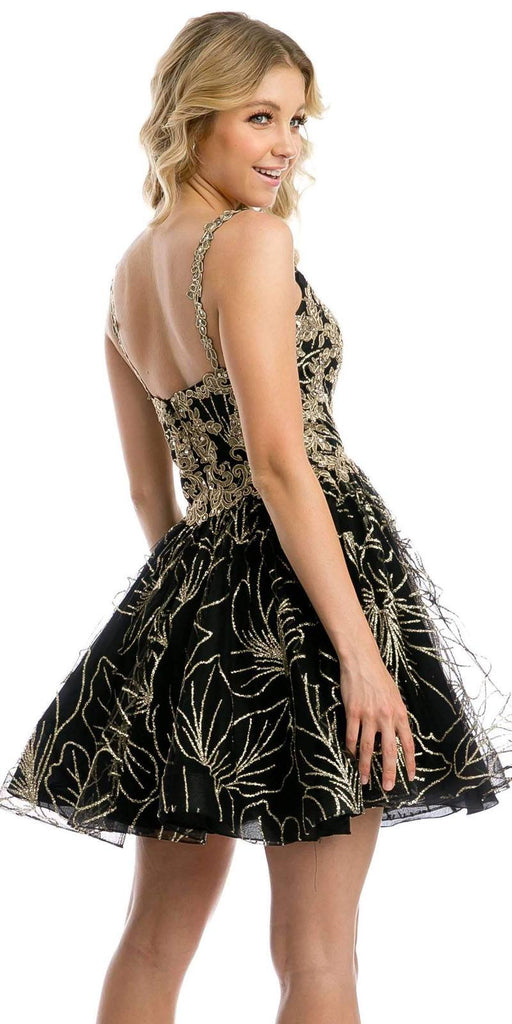 Black/Gold Homecoming Short Dress with Applique and Glitter