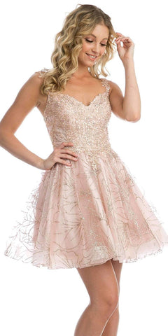 Blush Homecoming Short Dress with Applique and Glitter