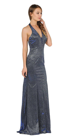 Royal Blue Halter V-Neck Long Prom Dress