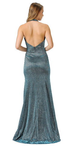 Teal Halter V-Neck Long Prom Dress