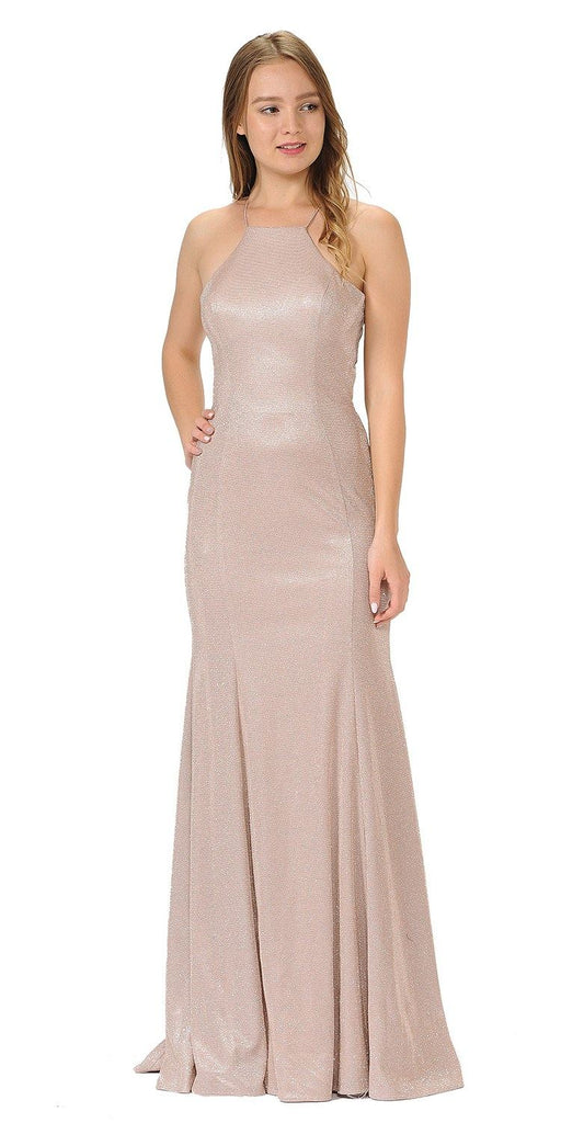 Rose Halter Long Prom Dress Cut-Out Back with Slit