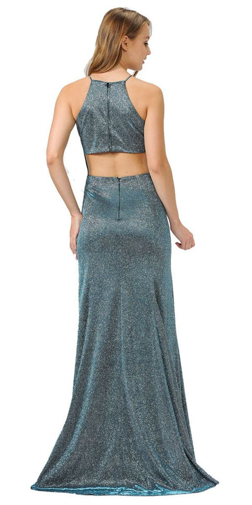 Teal Halter Long Prom Dress Cut-Out Back with Slit