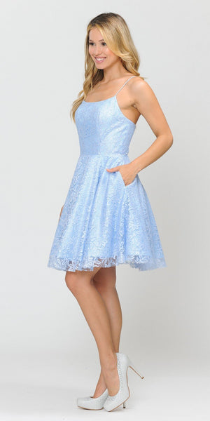 Poly USA 8388 Homecoming Short Dress with Pockets Baby Blue