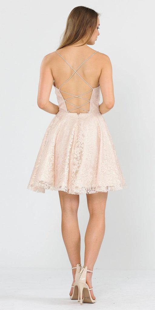 Poly USA 8388 Homecoming Short Dress with Pockets Champagne