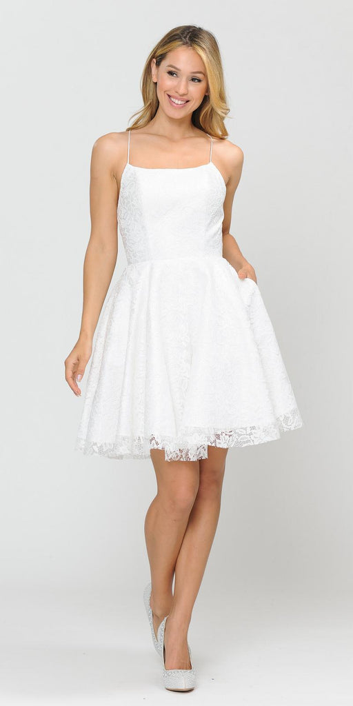 Poly USA 8388 Homecoming Short Dress with Pockets Off White