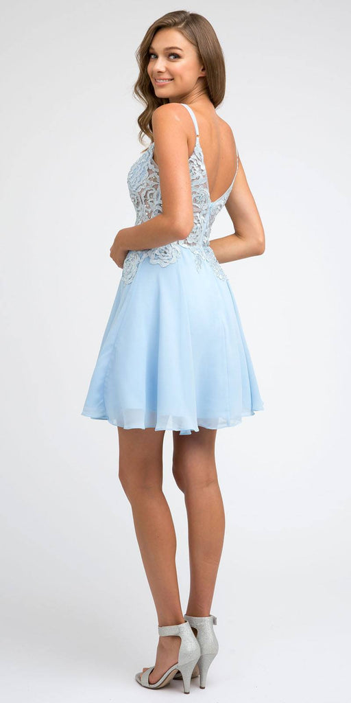 Juliet 839 Short V-Neck Embroidered Damas Ice Blue Dress A-Line Chiffon