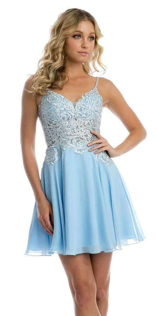 V-Neck Embroidered Homecoming Short Dress Ice Blue
