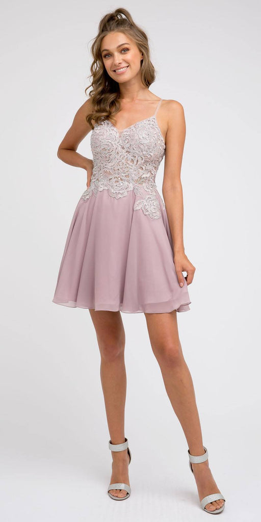 Juliet 839 Short V-Neck Embroidered Damas Mauve Dress A-Line Chiffon