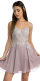 V-Neck Embroidered Homecoming Short Dress Mauve