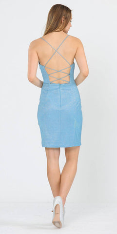 Short Glittery Cocktail Dress with Spaghetti Straps Baby Blue