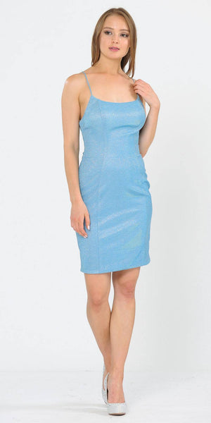 Poly USA 8390 Short Glittery Cocktail Dress with Spaghetti Straps Baby Blue