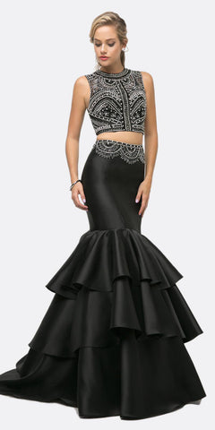 Cinderella Divine 83903 Beaded Bodice 2 Piece Black Mermaid Gown Layered Skirt