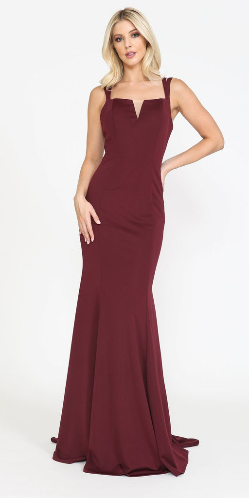 Poly USA 8392 Long Jersey Fitted Sexy Formal Mermaid Dress Burgundy