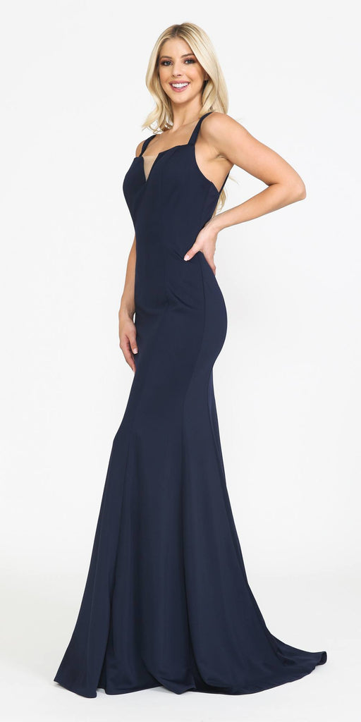 Poly USA 8392 Long Jersey Fitted Sexy Formal Mermaid Dress Navy Blue