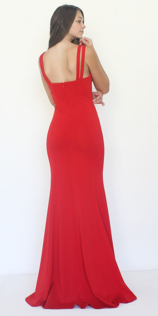 Poly USA 8392 Long Jersey Fitted Sexy Formal Mermaid Dress Red
