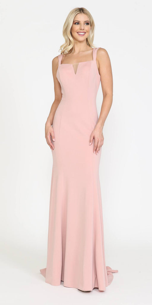 Poly USA 8392 Long Jersey Fitted Sexy Formal Mermaid Dress Rose Gold