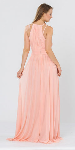 Halter Ruched Bodice Long Formal Dress Blush
