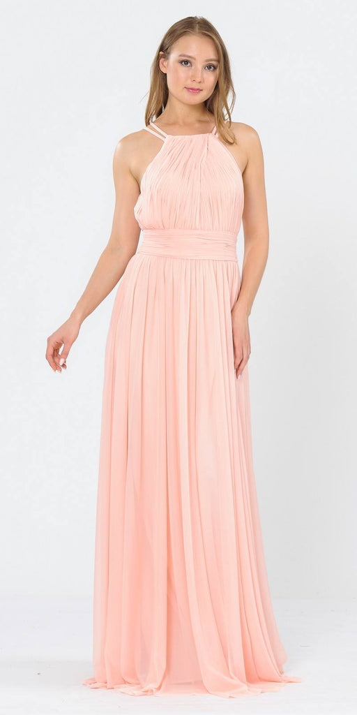 Poly USA 8396 Halter Ruched Bodice Long Formal Dress Blush