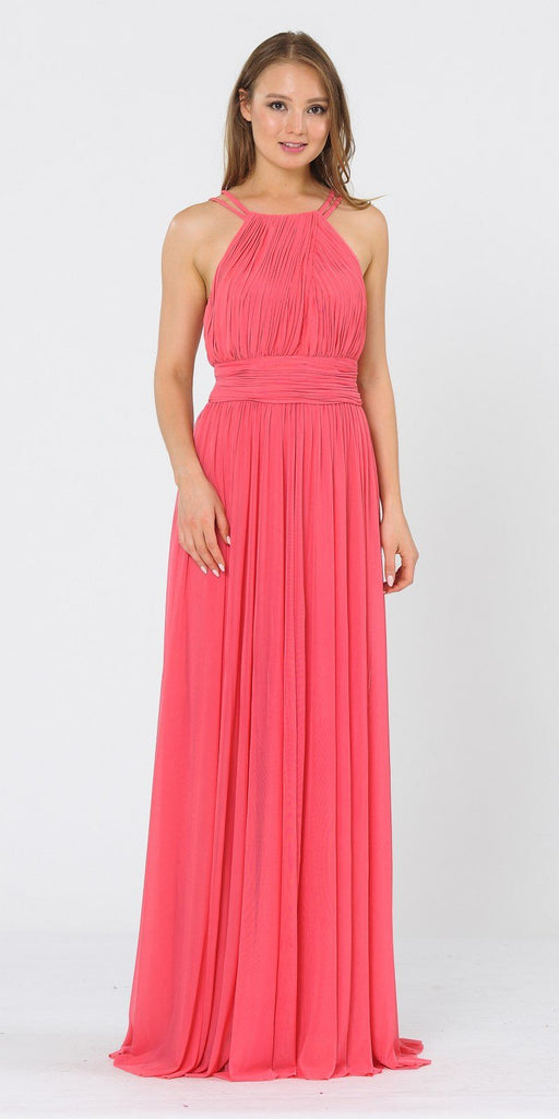 Poly USA 8396 Halter Ruched Bodice Long Formal Dress Coral