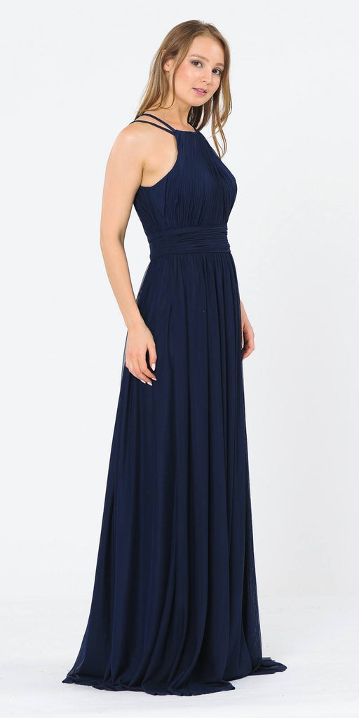 Poly USA 8396 Halter Ruched Bodice Long Formal Dress Navy Blue