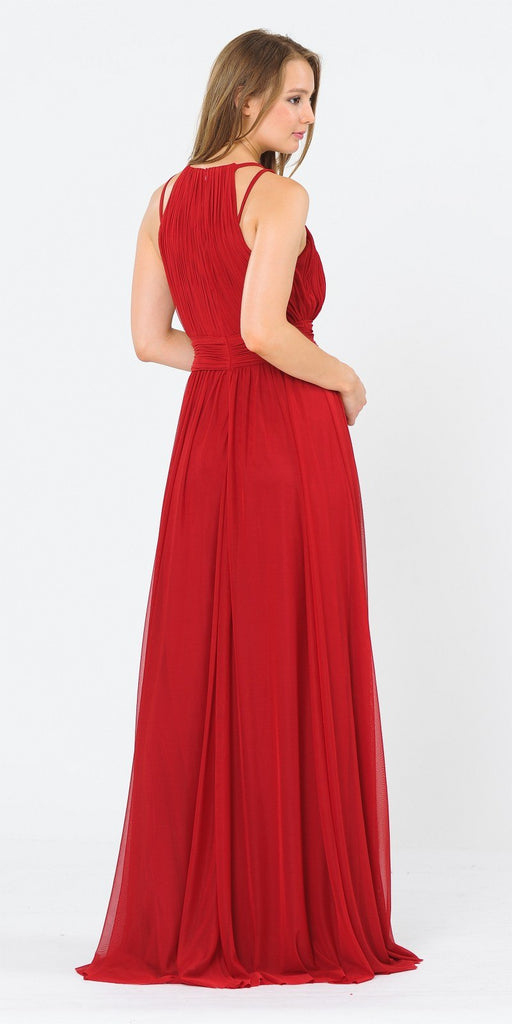 Poly USA 8396 Halter Ruched Bodice Long Formal Dress Dark Red