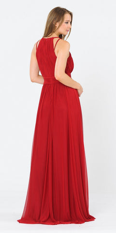 Halter Ruched Bodice Long Formal Dress Dark Red