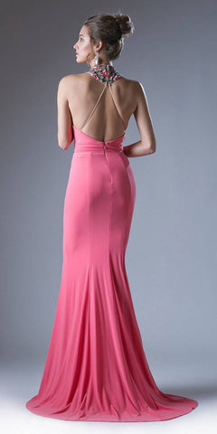 Beaded High-Neckline Long Prom Dress Coral