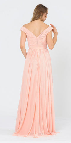 Off-Shoulder Ruched Bodice Long Formal Dress Blush