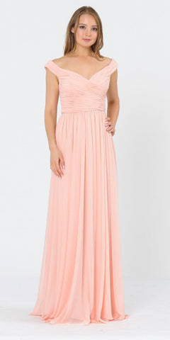 Sage Green Ruched Cold-Shoulder Long Bridesmaids Dress