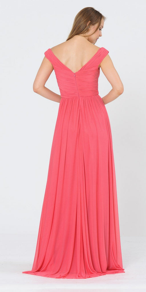 Off-Shoulder Ruched Bodice Long Formal Dress Coral