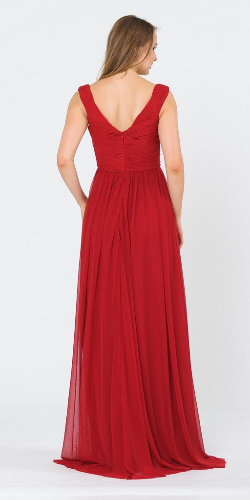 Off-Shoulder Ruched Bodice Long Formal Dress Dark Red