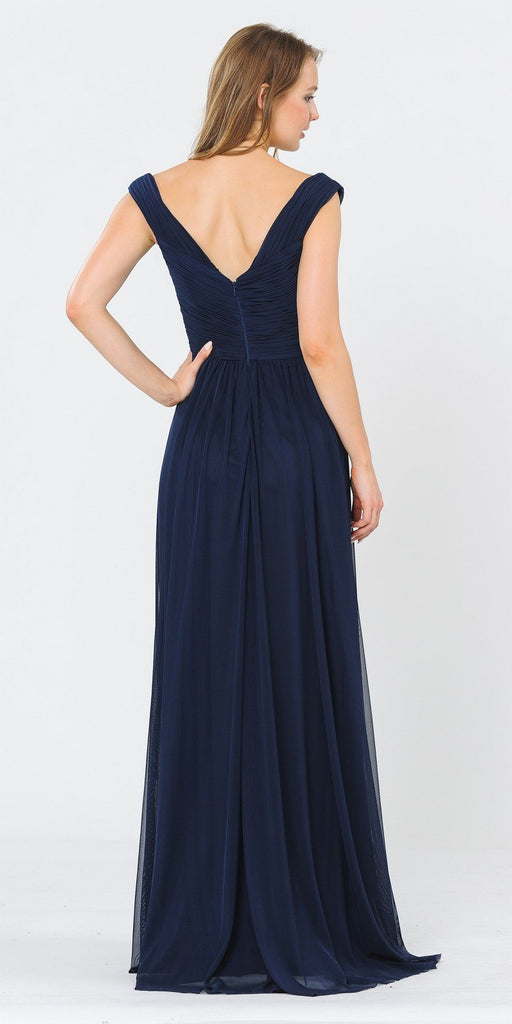 Off-Shoulder Ruched Bodice Long Formal Dress Dark Navy Blue