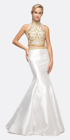 Cinderella Divine 84016 Beaded Bodice 2 Piece Mermaid Gown White T-Back