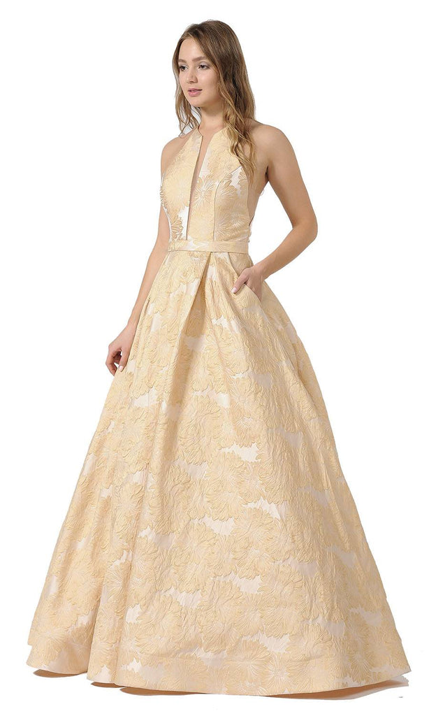 Sheer Cut-Out Bodice Long Prom Dress with Pockets Champagne