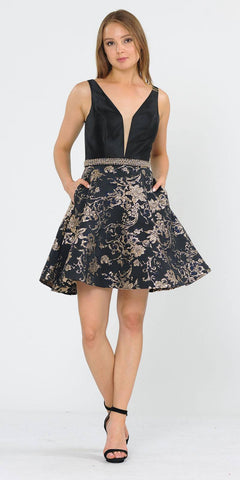 Black/Gold Print Skirt Short Homecoming Dress V-Neck