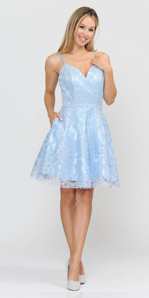 Poly USA 8406 Blue Lace Homecoming Short Dress with Spaghetti Straps