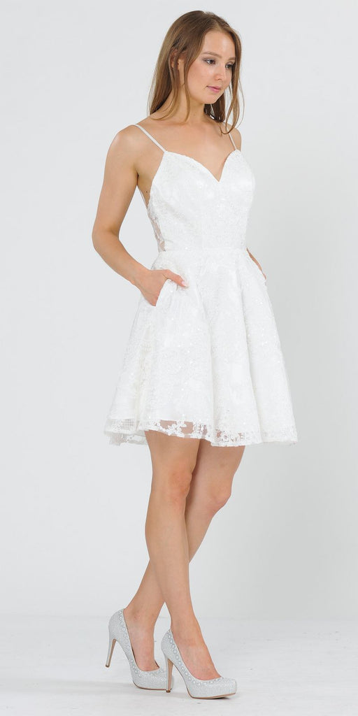 White Lace Homecoming Short Dress with Spaghetti Straps