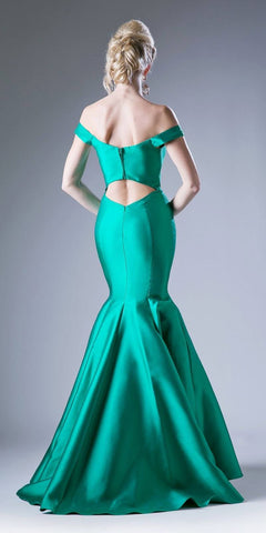 Cinderella Divine 84076 Green Off Shoulder Trumpet Prom Dress Cut-Out Back